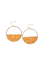 Cecelia Cork Half Moon Leather Earrings