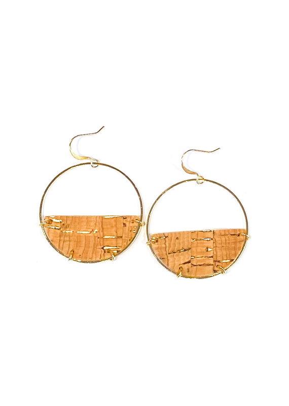 Cecelia Cork Half Moon Leather Earrings