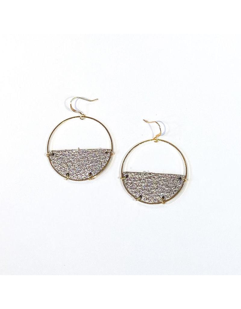 Cecelia Hematite Half Moon Leather Earrings