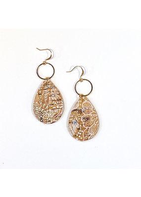 Cecelia Floral Cork Leather Teardrop Earrings