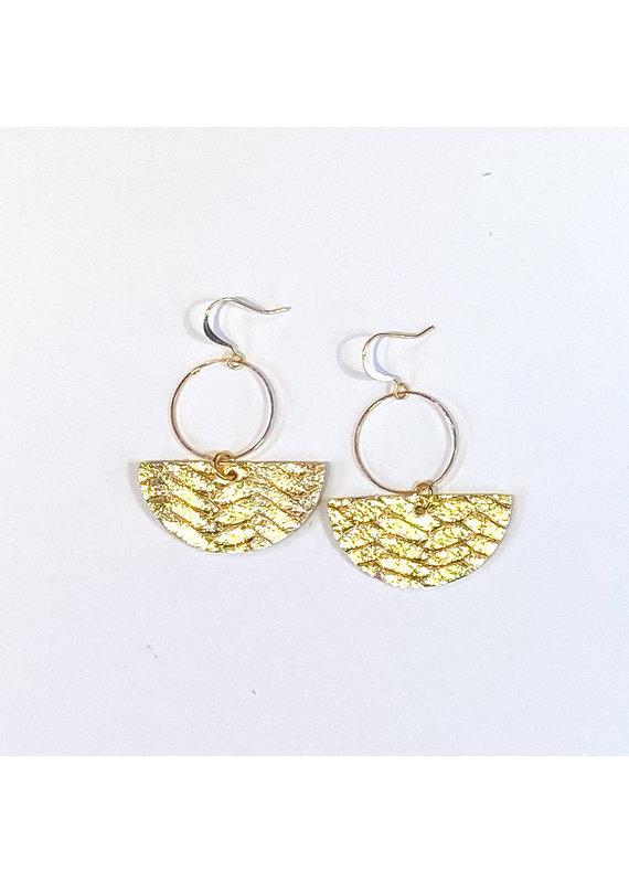Cecelia Gold Braided Geometric Leather Earrings