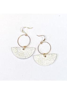 Cecelia Silver Geometric Leather Earrings