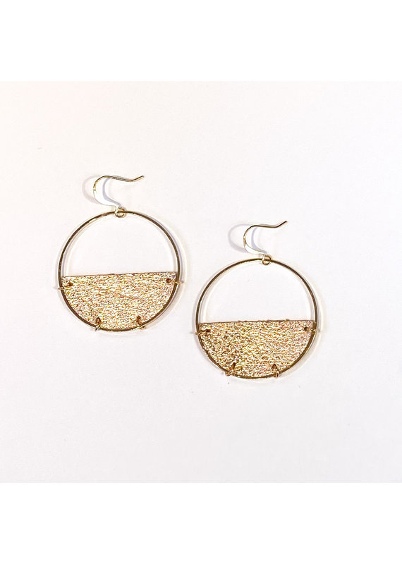 Cecelia Rose Gold Half Moon Leather Earrings