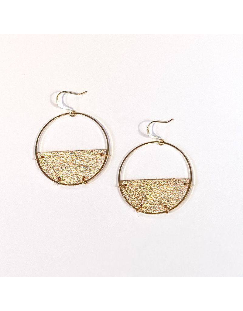 Cecelia Rose Gold Half Moon Leather Earrings