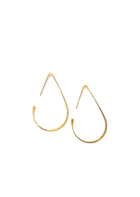Linda Trent 14k Gold Medium Teardrop Hoop Earrings