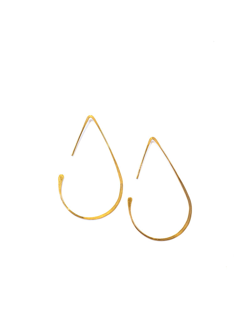 Linda Trent 14k Gold Medium Teardrop Hoop Earrings