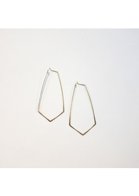 Linda Trent Sterling Silver Kite Shape Hoop Earrings