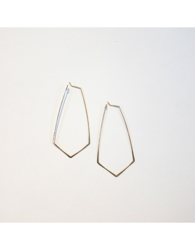 Linda Trent Sterling Silver Kite Shape Hoop Earrings