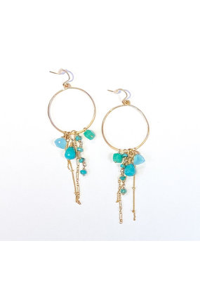 Linda Trent 14K Gold Filled Turquoise Gypsy Hoop Earrings
