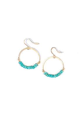 Linda Trent 14K Gold Filled Turquoise Hoop Earrings