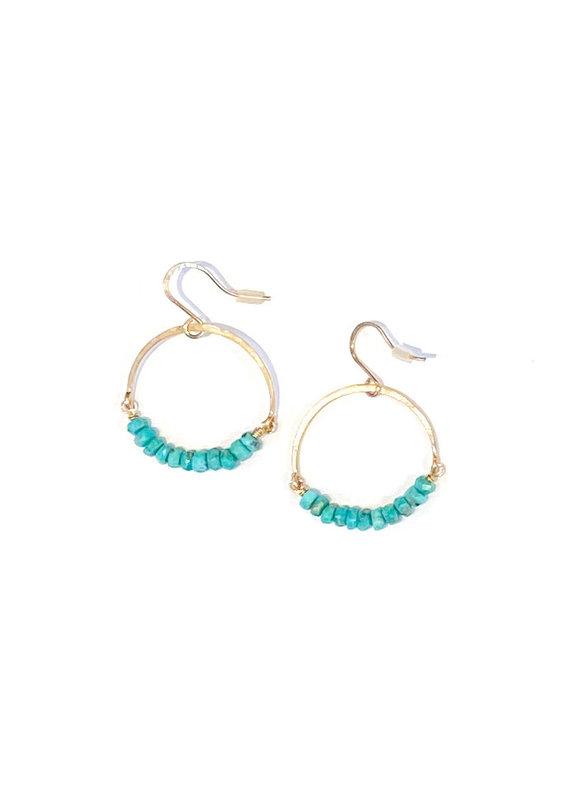 Linda Trent 14K Gold Filled Turquoise Hoop Earrings