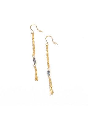 Linda Trent 14K Gold Filled Chain Tassel & Blue Bead Earring
