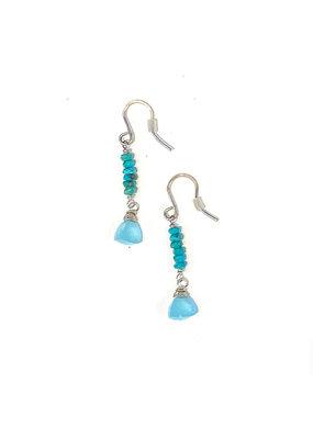 Linda Trent Sterling Turquoise Bead & Chalcedony Dangle Earring
