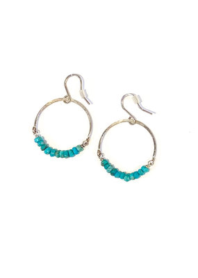 Linda Trent Sterling Silver Turquoise Hoop Earrings