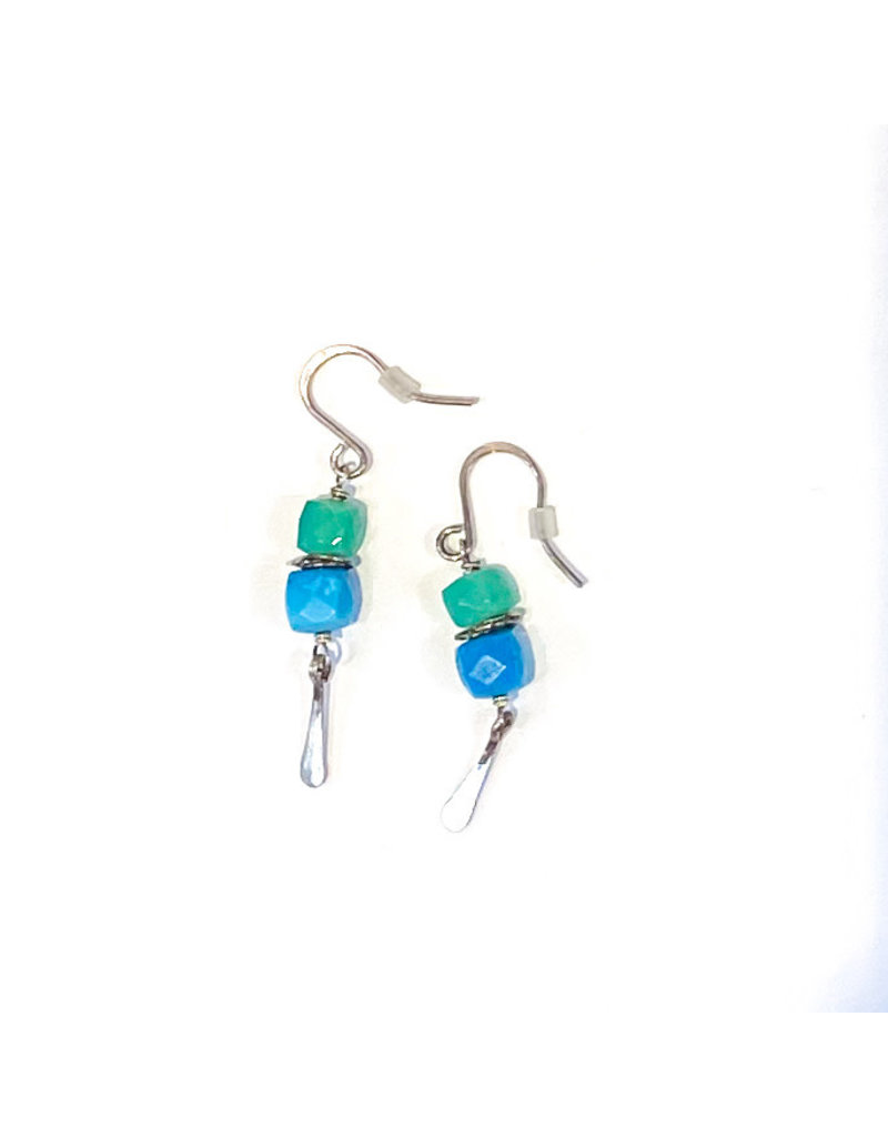 Linda Trent Sterling Silver Turquoise & Chrysoprase Bead Earring