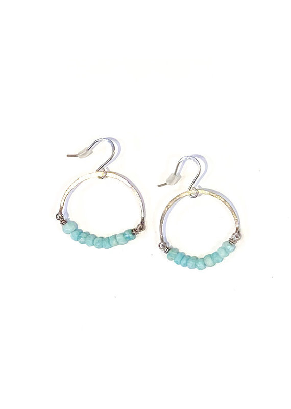 Linda Trent Sterling Silver Amazonite Hoop Earrings