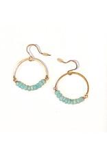 Linda Trent 14K Gold Filled Amazonite Hoop Earrings