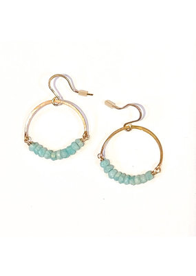 Linda Trent 14K Gold Filled Amazonite Hoop Earrings