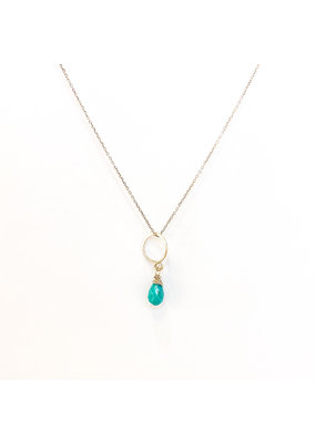 Linda Trent 14K Gold Filled Open Circle & Turquoise Necklace