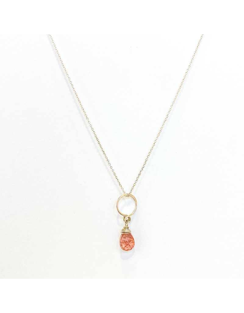 Linda Trent Sterling Silver Open Circle & Watermelon Quartz Necklace