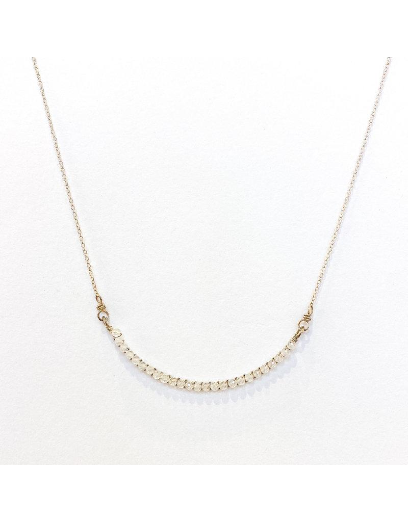 Linda Trent Sterling Silver Half Smile Moonstone Necklace
