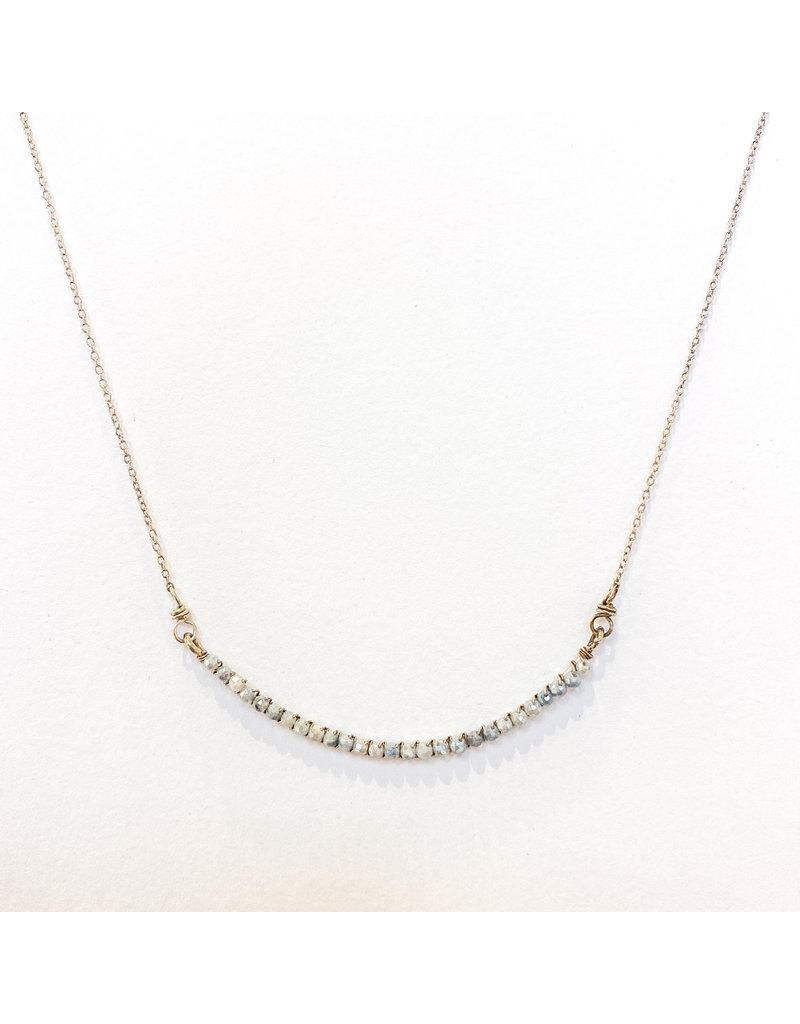 Linda Trent Sterling Silver Half Smile Blue Opal Necklace