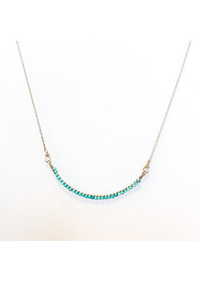 Linda Trent Sterling Silver Half Smile Turquoise Necklace