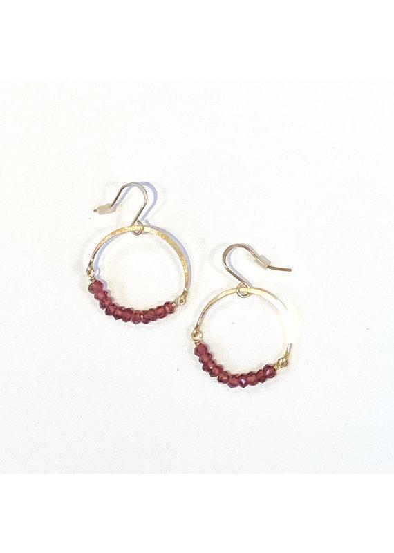 Linda Trent 14K Gold Filled Garnet Hoop Earring