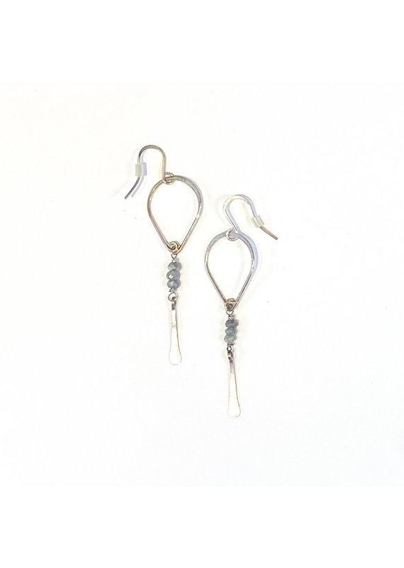Linda Trent Sterling Silver Silverite Teardrop Dangle Earring