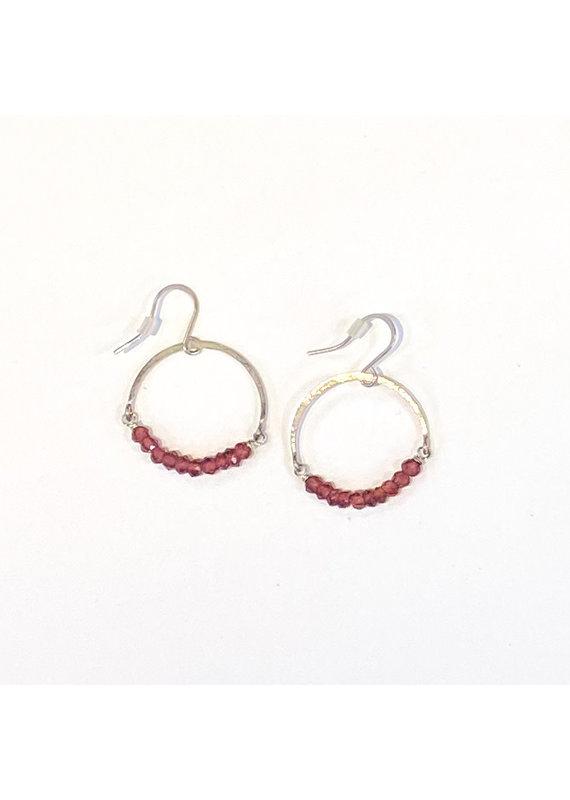 Linda Trent Sterling Silver Garnet Hoop Earring