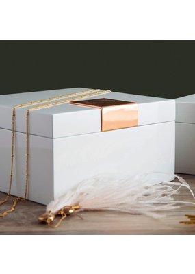 Perri Bleu Emery White Lacquer Jewelry Box Small