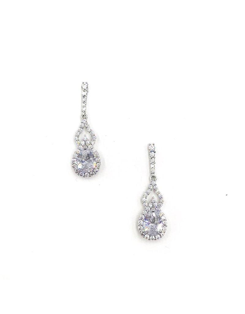 Silver Teardrop AAA CZ Earrings