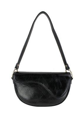 Street Level Handbags Black Shoulder Bag w Abstract Flap
