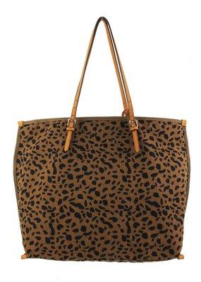 Street Level Handbags Brown Leopard Canvas Print Tote