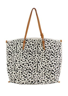 Street Level Handbags Ivory Leopard Canvas Print Tote