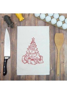 Green Bee Tea Towels Christmas Tree w Presents Tea Towel