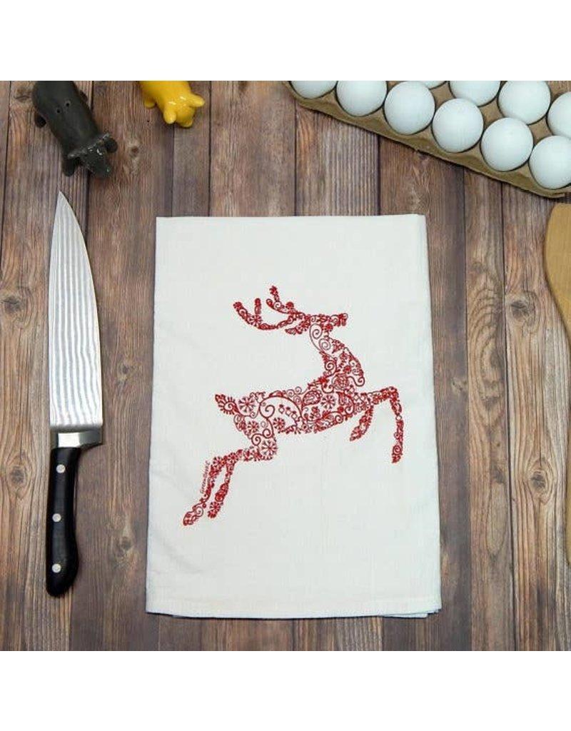 Green Bee Tea Towels Red Reindeer Holiday Tea Towel