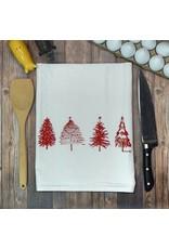 Green Bee Tea Towels Red Scribble Christmas Tree Tea Towel
