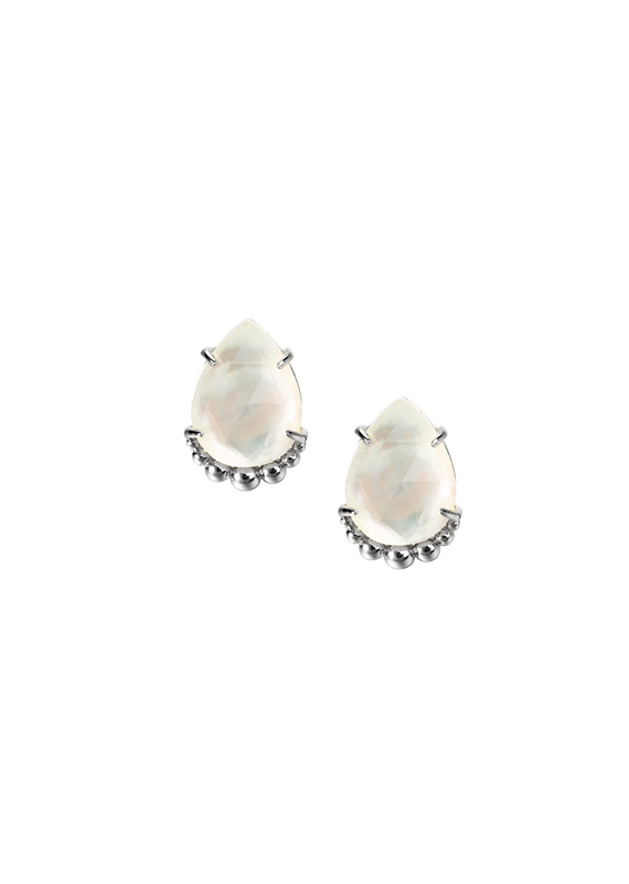 Natalie Wood Designs She's a Gem Teardrop Stud White Pearl & Rhodium Plated