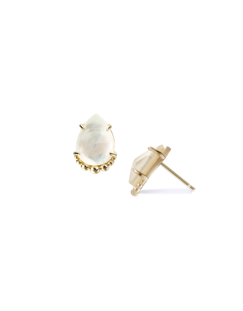 Natalie Wood Designs She's a Gem Teardrop Stud White Pearl & 14k Gold Plated
