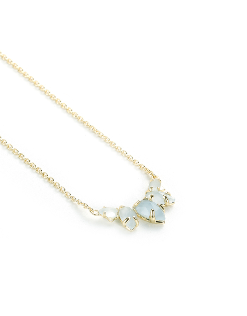 Natalie Wood Designs Daydreamer Necklace Blue Chalcedony 14K Gold Plated