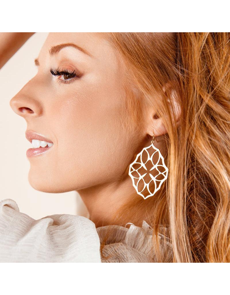 Natalie Wood Designs Believer Large Drop Earrings Rhodium Plated