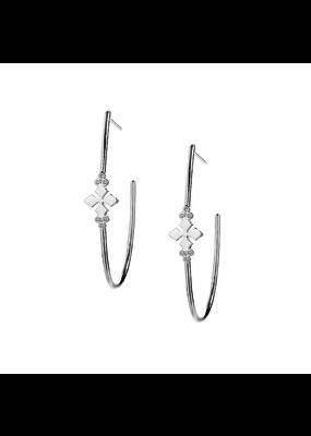 Natalie Wood Designs Believer Cross Hoop Earrings Rhodium Plated