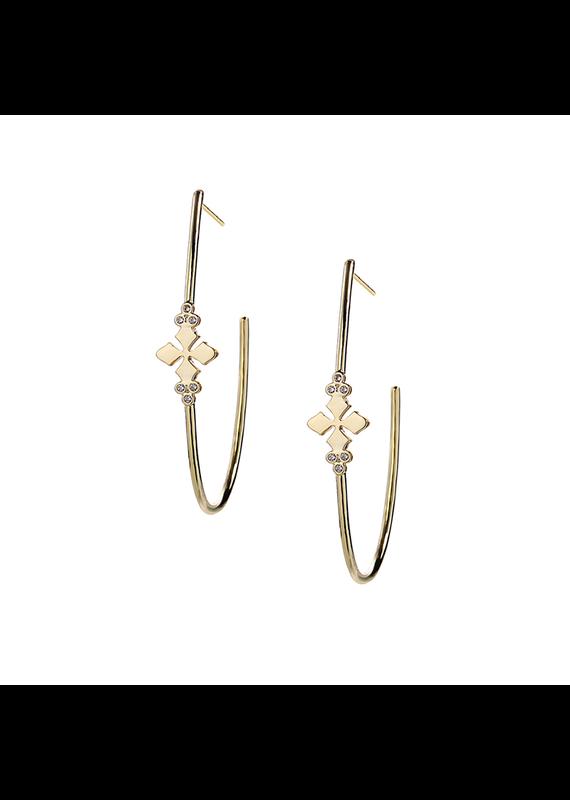Natalie Wood Designs Believer Cross Hoop Earrings 14k Gold Plated