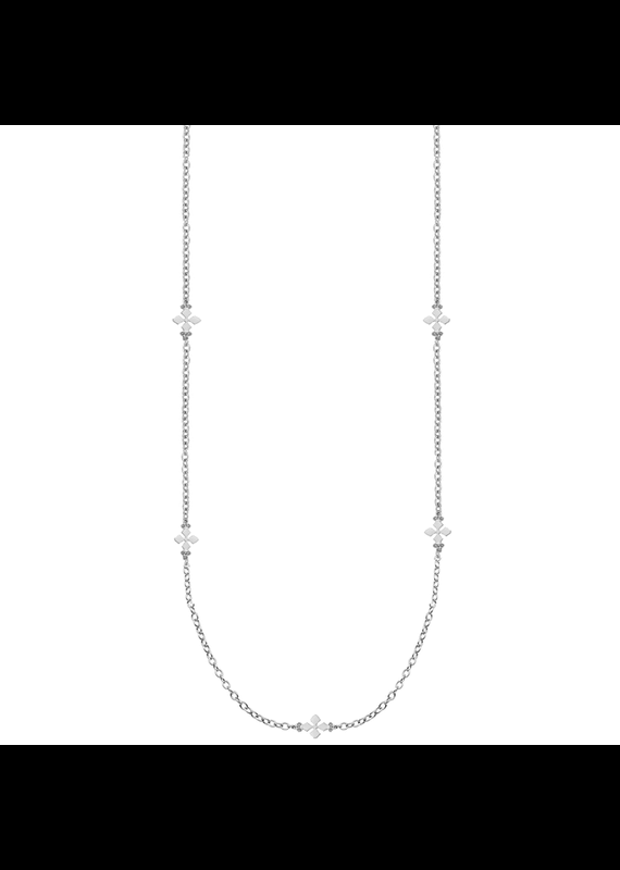 Natalie Wood Designs Believer Cross Station Necklace Rhodium Plated