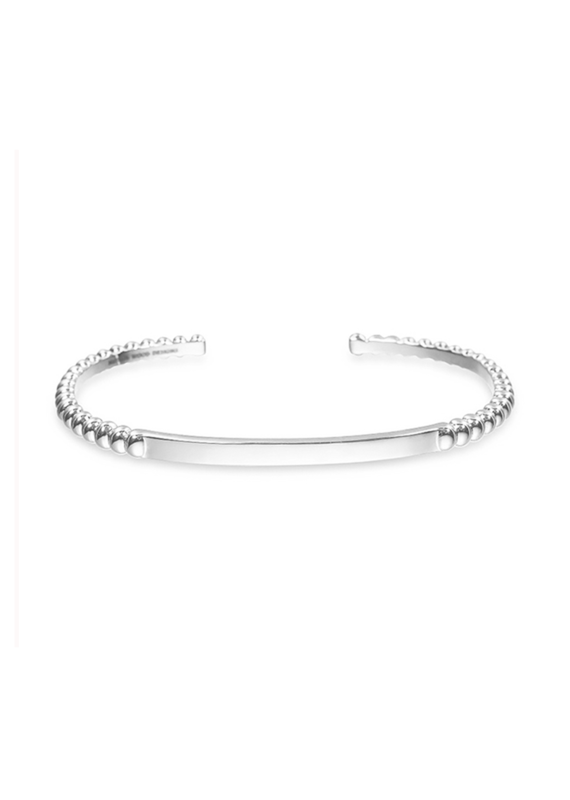 Natalie Wood Designs Beaded Stacking Cuff Rhodium Plated