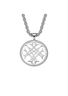 Natalie Wood Designs Logo Pendant Necklace Rhodium Plated
