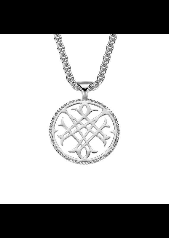 Natalie Wood Designs Logo Pendant Necklace Rhodium Plated