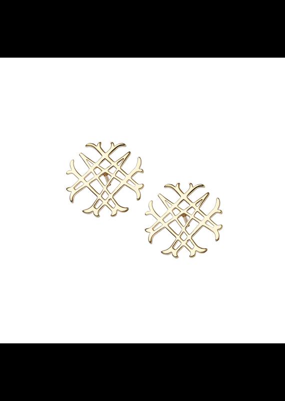 Natalie Wood Designs Logo Stud 14k Gold Plated