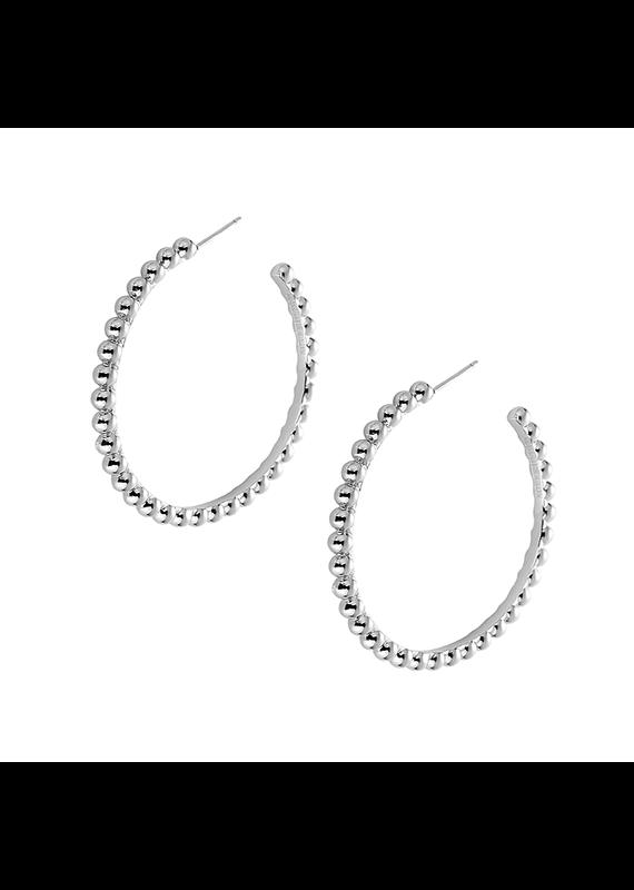 Natalie Wood Designs Beaded Hoop Rhodium Plated